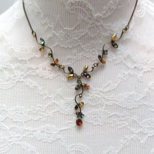 Antiqued brass & rhinestone leaves necklace
